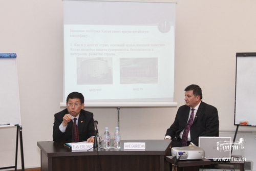 Ambassador of China Tian Erlong at the Diplomatic School