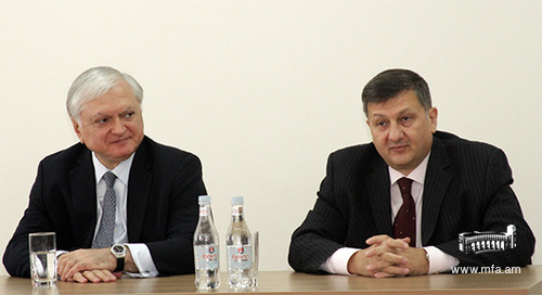 Minister of Foreign Affairs of Armenia Edward Nalbandian ant the Director of the Diplomatic School Vahe Gabrielyan