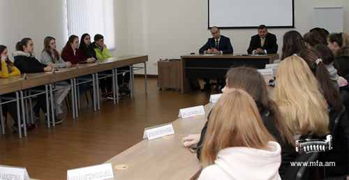 The visit of the students of the International School of Young Diplomats to the Diplomatic School of Armenia